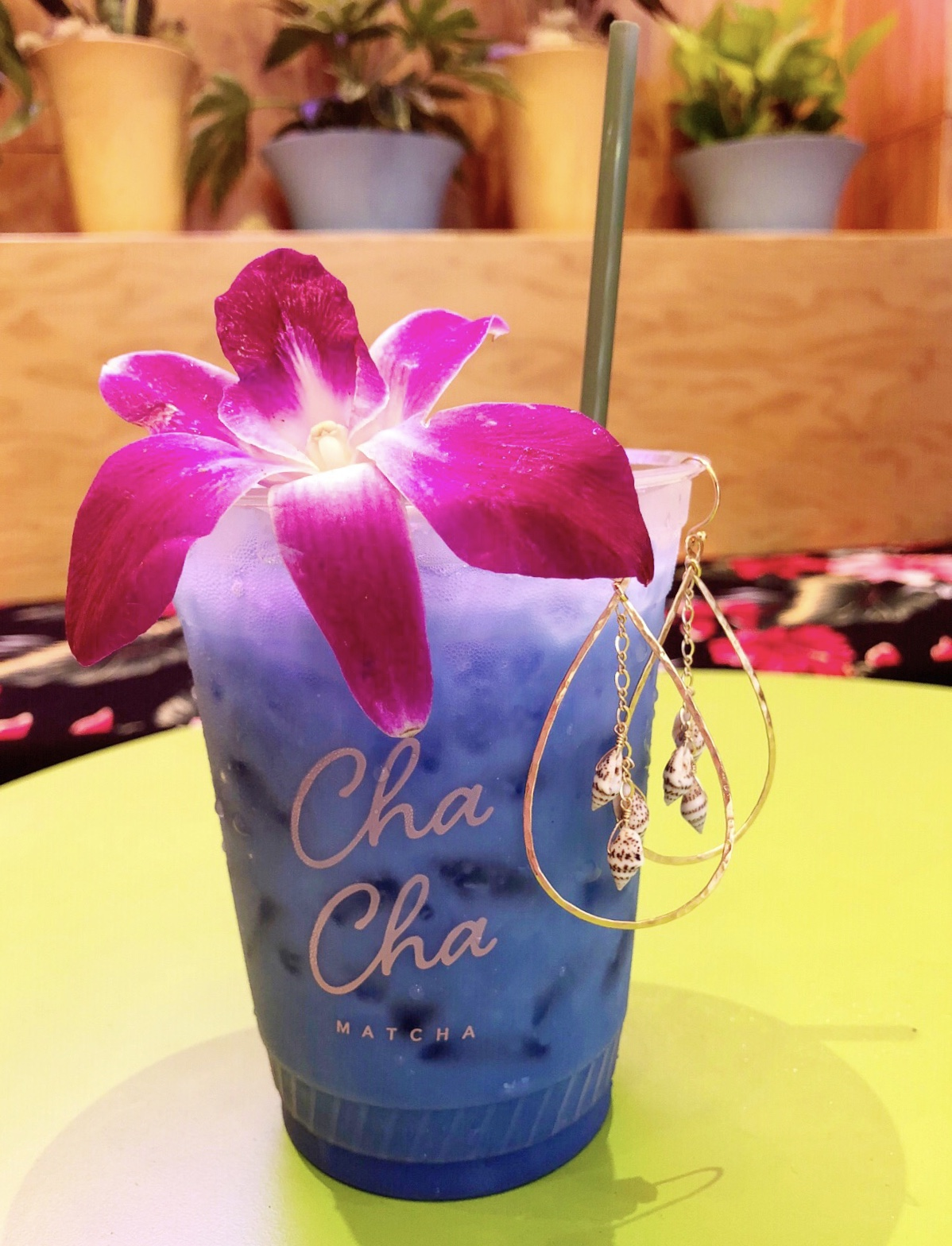 Blue Drink with Lei Teardrop earrings